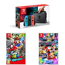 Nintendo Switch Neon with Super Mario Odyssey & Mario Kart
