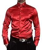 Pierre Martin Herren Hemd Glanz Rot Herrenhemd Slim Fit Größe L 42