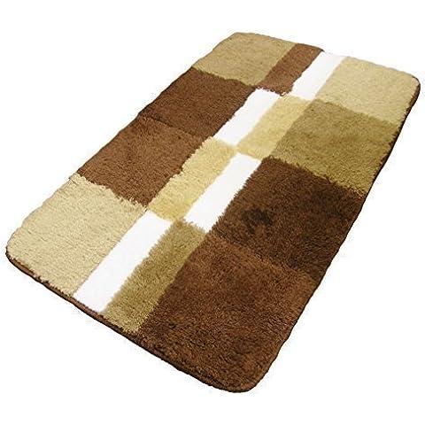 Alfombra de baño cuadros bloques beis marrón crema felpudo alfombra grande grueso 35X22