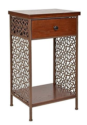 Kommode Schrank Regal Shabby Antik Vintage Industrie Design Rustikal Holz Metall Nachttisch Beistelltisch Ablage Telefontisch mit Schubladen