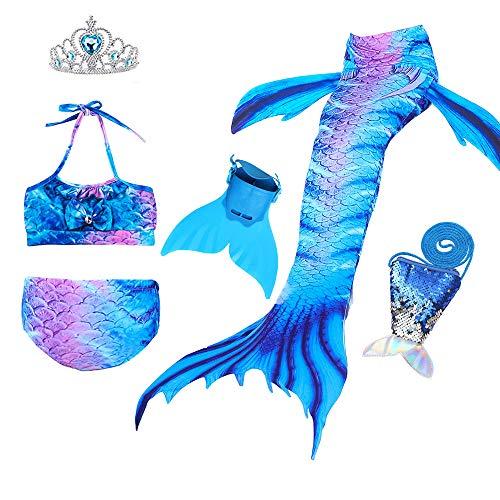 JoyChic Meerjungfrau Flosse zum Schwimmen Meerjungfrauen Bikini Set Badeanzüge Badenbkleidung Kostüm Meerjungfrauenflosse für Mädchen Monoflosse Inkl (Schwimmen Kostüm Für Kleinkind)