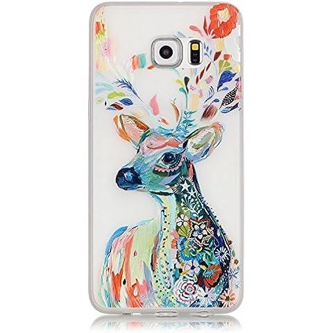 Cuitan Alta Calidad suave de TPU Noctilucent Funda para Samsung Galaxy S6 Edge Plus G9280, Colorido ciervos Patrón Back Cover Brillan en la oscuridad Diseño Moda delgado Protectora Caso Cubierta Case Protección Carcasa - Colorido