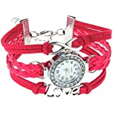Rrimin Women Love Bracelet Bangle Leather Crystal Dial Analog Quartz Watch Rose Red