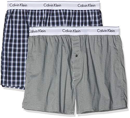 Calvin Klein Herren Boxershorts Boxer Slim 2PK, Blau (Stain Plaid Placid H/WuXi 2 H Grey Gba), Medium