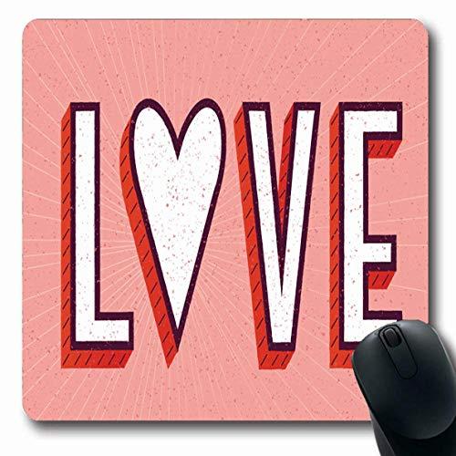 Liebe Hipster (Luancrop Mousepad Länglicher Tagesrosa Hipster-Liebes-Herz-Buchstaben-Nette Glückwunsch-Zusammenfassungs-Text-Wort-Feier-Entwurfs-süße Büro-Computer-Laptop-Notizbuch-Mausunterlage, Rutschfester Gummi)