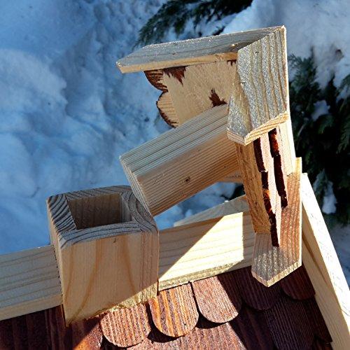 Vogelhaus-XL Braun- Vogelhäuser-Vogelfutterhaus Vogelhäuschen-aus Holz Wetterschutz Putzklappe - 4