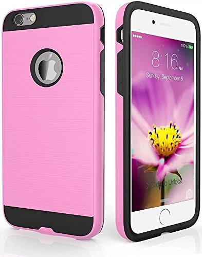 """iPhone 6s Coque,iPhone 6 Coque, Lantier robuste en métal brossé Design [souple TPU+dur PC] Impact Resistant antichoc double couche Armure Housse de protection pour iPhone 6/6S 4,7"""" Noir Pink"""