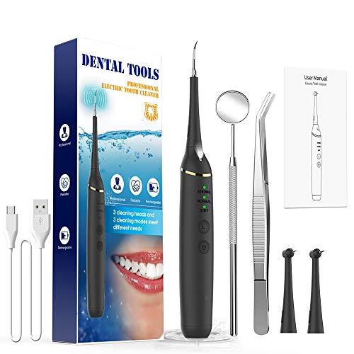 Sarro Dental Breett Limpieza Dental Limpiador Dental Limpieza Dental kit Eliminar Dientes Placa Calculo Manchas Dientes y Residuo 3 Modos Luz Led 3 PCS