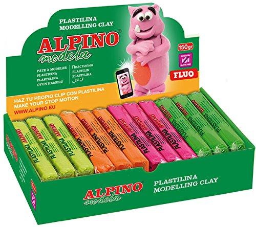 Plastilina Alpino Fluo 12 Pastillas de 150 gr