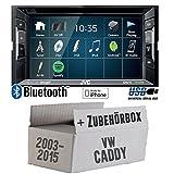 VW Caddy 2K - Autoradio Radio JVC KW-V240BT - DVD Bluetooth MP3 USB - Einbauzubehör - Einbauset
