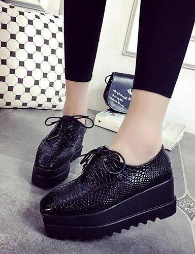 ZQ hug Scarpe Donna-Sneakers alla moda-Formale / Casual-Comoda / Punta squadrata-Zeppa-Finta pelle-Nero , black-us8 / eu39 / uk6 / cn39 , black-us8 / eu39 / uk6 / cn39 black-us6 / eu36 / uk4 / cn36