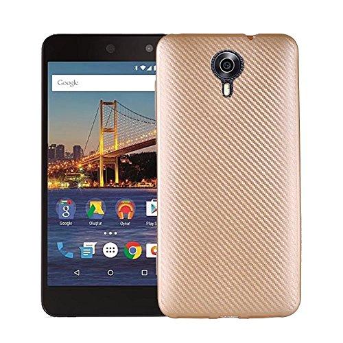 JDDRCASE Handy Zubehör Hüllen, Slim Carbon Fiber Gummi Soft TPU Hybrid Shockproof Case Cover für Google Android One General Mobile 4G / GM5 (Farbe : Gold)