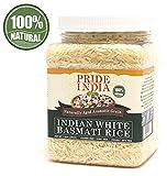 El orgullo de la India - Extra Largo Arroz Basmati indio - envejecido naturalmente aromático grano, Jar 1,5 libra