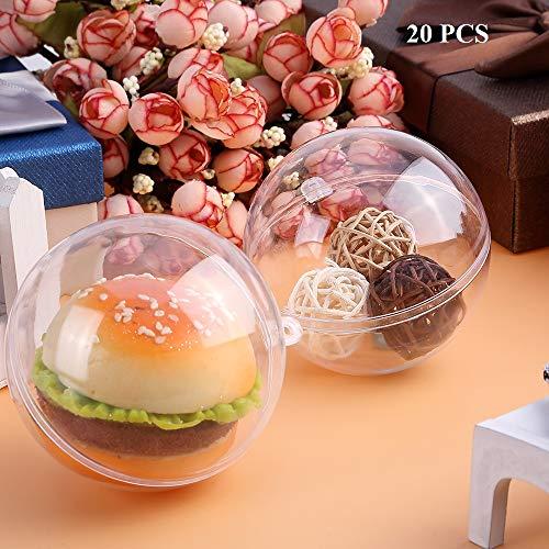 20 x Bolas de Navidad Forma redonda Plástico transparente para decorar el...