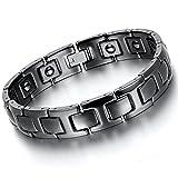 Flongo Magnet Therapie Kugel Perle Perlen Wolframcarbid Wolfram Armband Link Handgelenk Hematit Schwarz I Rechteckig Magnet Klassiker Herren