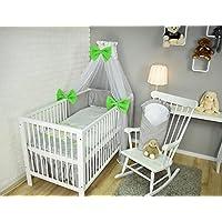 Amilian/® Baby Bettw/äsche 5tlg Bettset mit Nestchen Kinderbettw/äsche Himmel 100x135cm My Zoo//blau Vollstoffhimmel