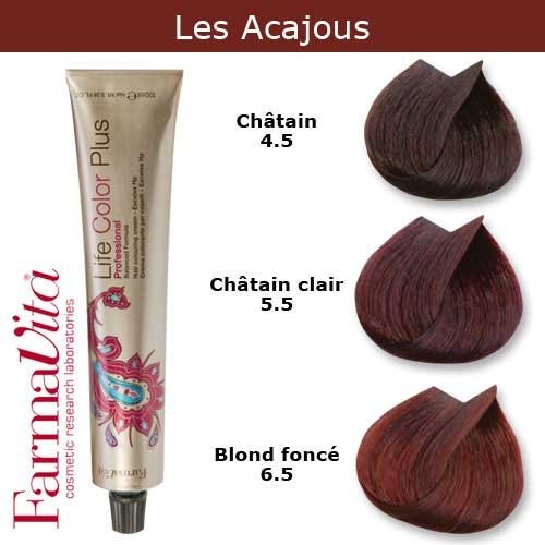 Coloration cheveux FarmaVita - Tons Acajous Blond foncé acajou 6.5