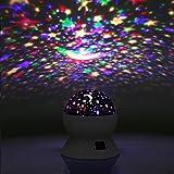 Sternenhimmel Projektor Kinder Lampe, LED Nachtlicht Rotierend mit 4LED Birnen, 8 Licht Modus und 2 Energieversorgung, Timer-Schalter Sky-Star Night Light für Zimmer Festival Dekoration oder Geschenk