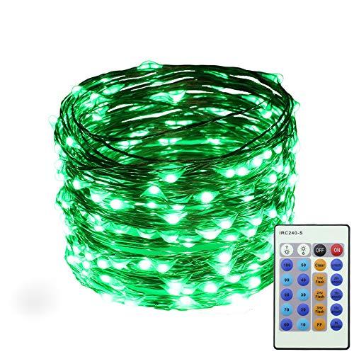 0M Lichterkette mit 24 Tasten Fernbedienung IP66 Wasserdicht LED Licht Dekoration für Weihnachten,Party, Hochzeit,Hof,String Lights (Grün) ()