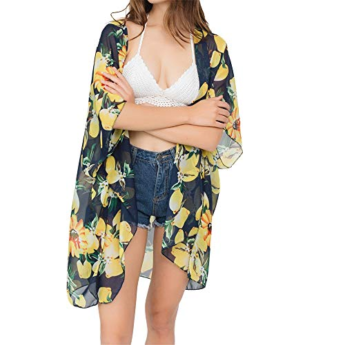 Damen Chiffon-Schal mit Blumenmuster, Bovake, Sommer, leicht, Cardigan Bedruckt, lässig, atmungsaktiv, Boho-Stil, weich Gr. M, Nary -