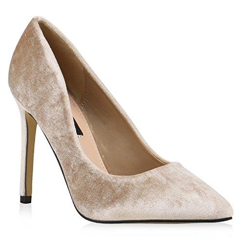 Spitze Damen Schuhe Pumps Samtoptik Stilettos High Heels 133493 Creme Samtoptik 38 Flandell