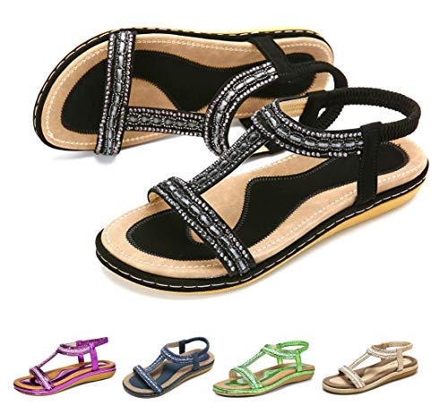 Camfosy Sandales Femmes Plates Été, Chaussures Été Nu Pieds à Talons Plats Claquettes Plage Semelle Compensées Confortables Bout Ouvert, Noir, 40 EU