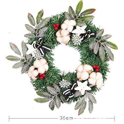 Wokee Tannenkranz mit, 35cm Rote Frucht Kapok Kranz Wand Ornament Weihnachten Thanksgiving Dekoration