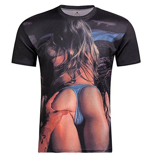 West See Herr Mann Designs Lion Löwen T-Shirt 3D-Druck beiläufige Hemd Bluse Kurzarm (EU M, Beauty) (Print T-shirt Lion)