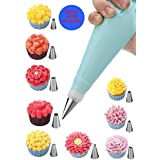 24 Piece Cake Piping Icing Nozzles Tips Kit Set with 24 Stainless Steel Tips ,1 Silicone Reusable Piping Bag,10 Disposable Bags ,2 Coupler, and Storage Case for Cakes Cupcakes Tools || e-Book ||