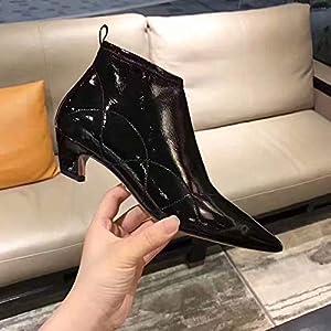Top Shishang Weiblicher Herbst und Winter Mode zeigte Kurze Röhre Lackleder mit Martin Stiefel Chelsea Stiefel und Stiefeletten westlichen Stiefeletten