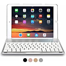 Funda con teclado para Apple iPad 9.7 New 2017, iPad Air 1, COOPER NOTEKEE F86 Carcasa con teclado inalámbrico Bluetooth con retroiluminación LED de 7 colores - (Plata)