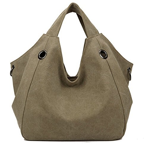 Hobo-khaki (Ecokaki(TM) Casual Canvas Shoulder Large Capacity Casual Hobo Style Tote Bag Handbag Travel Bag, Khaki by Ecokaki)