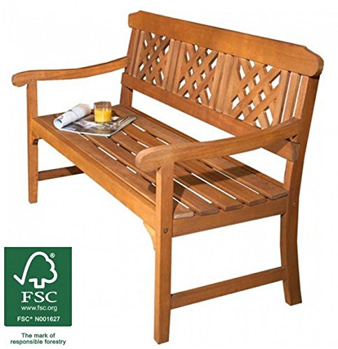 3 Seater Wooden Garden Bench Quality All Weather Eucalyptus Hardwood With Brass Plated Fittings