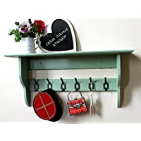 Deep hallway shelf with industrial vintage cast iron hooks, green, 2 to 10 hooks