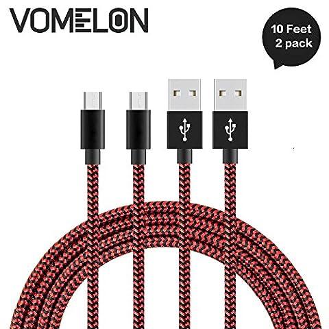 Micro USB Kabel, [10FT-2Pack] Nylon geflochten Schnelle Geschwindigkeit Sync & Ladekabel A Male to Micro B für Samsung, HTC, LG, HP, Sony, Most Android und weitere Smartphones-[Rot + schwarz]