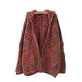 Shujin Damen Herbst Elegant Bunt Offener Strickjacke mit Kapuze oder ohne Kapuze Loose Casual Cardigan Outwear Langarm Pullover
