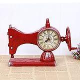 CWLLWC tischuhr standuhr,Kaminuhr Nähmaschine Modellierung einseitig Uhr Nähmaschine alte kreative Uhr Hauptdekoration 33 * 12 * 23 cm