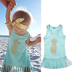 Queta - Vestido de piña con Falda de algodón para niñas, diseño Europeo y Americano, Color Dorado 120