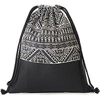 MONi Turnbeutel Rucksack Gymbag im Ethnic Design mit verstärktem Kunstleder-Boden | Hochwertiger Hipster Beutel (Jutebeutel) mit verstellbaren Kordeln