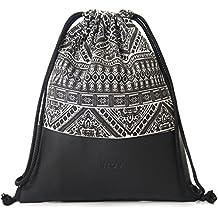 MONi Turnbeutel Rucksack Gymbag im Ethnic Design mit verstärktem Kunstleder-Boden   Hochwertiger Hipster Beutel (Jutebeutel) mit verstellbaren Kordeln