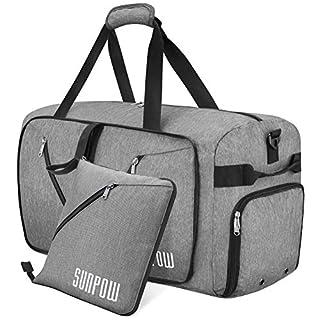 SUNPOW 85 L Sporttasche Männer Große Reisetasche Faltbare Handgepäck Weekender Taschen Duffle Gepäck mit Flaschentasche und extra Schuhfach Leichter Gym Fitness Tasche für Herren und Frauen (Hellgrau)