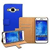 Membrane - Blu Portafoglio Custodia per Samsung Galaxy J5 2015 (SM-J500F) - Wallet Flip Case Cover + 2 Pellicola Protettiva