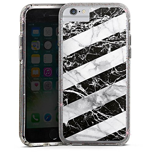 Apple iPhone 6 Plus Bumper Hülle Bumper Case Glitzer Hülle Marmor Streifen Stripes Bumper Case Glitzer rose gold