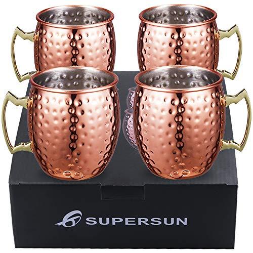 SUPERSUN Set 4er Moscow Mule Becher, Kupferbecher Moscow Mule Mug Kupfer Becher Set of 530ml für Spicy Ginger Beer, Beer, Party Becher, Kupfer Becher, Bar Set, Geschenk