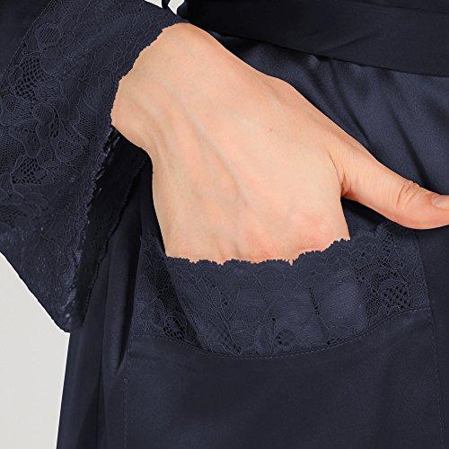 LILYSILK Robe de Chambre Femme 100% Soie Elégante Poignets Dentelles 22 Momme Noir