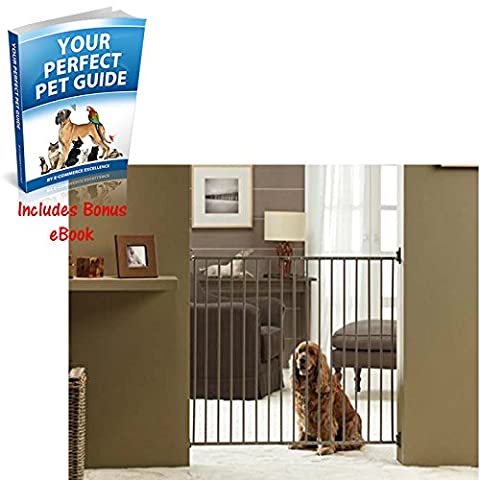 Indoor Extendable Dog Gate with Adjustable Two-Way Opening with An Owner-Friendly Double Locking Mechanism - Includes Wall Fixtures and fittings - Suitable for Medium To Large Adult Dogs by e-Commerce Excellence