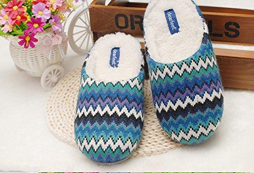 Au printemps et en automne, maison pantoufles, femmes, coton, doux, confortable, chaud, insipide, peluche, semelle épaisse, anti-dérapant Blue