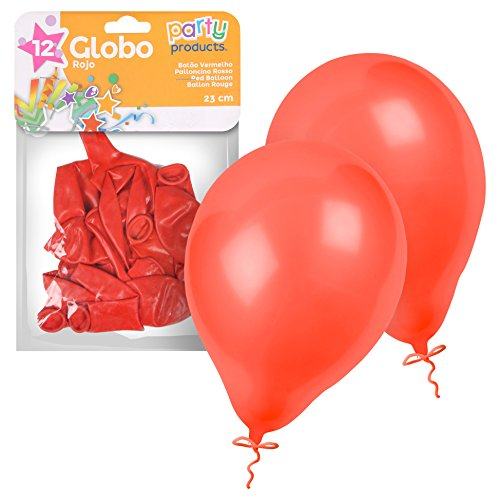 Party - Pack 12 globos, 23 cm, color rojo (68389)