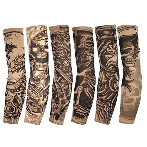 AN-JING Chilling Arm Ellenbogen Kompressionsmanschette Sonnenschutz Tattoo Ärmel Cover Up - for draußen Radfahren Golf Basketball Baseball Tennis (6 STK.) Diese (Color : Multi-Colored, Size : L) (Cover-up-tattoo-ärmel)