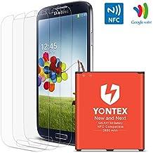 YONTEX Batería para Samsung S4, NFC/Google Wallet, Batería de repuesto 2600mAh para Samsung Galaxy S4 con 3 Paquetes protector de pantalla [i9500, i9505, LTE i9506]
